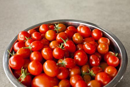 grown: Ripe red fresh home grown cherry tomatoes Stock Photo