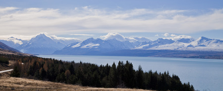 Lake Pukaki with Mt Cook National Park in the background, South Island, New Zealand. Stock Photo