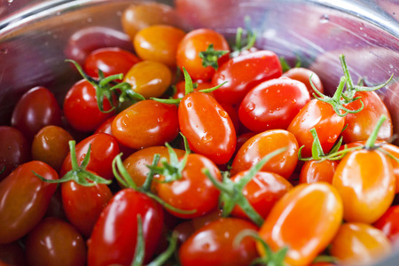 homegrown: Ripe red fresh homegrown cherry tomatoes