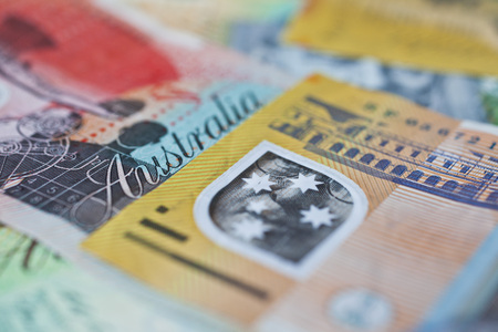 Australian money, currency or cash flat on table