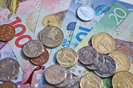 New Zealand cash, money or currency. Notes and coins