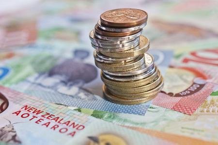 뉴질랜드 현금, 화폐 또는 통화. 노트와 동전