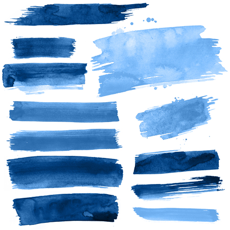 Blue watercolor paint strokes on a white background Stock Photo