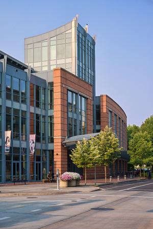 eugene: Early morning light falls on the Eugene Public Library in Oregon. It won a major architectural award upon completion in 2003 for its design and energy efficiency. Editorial