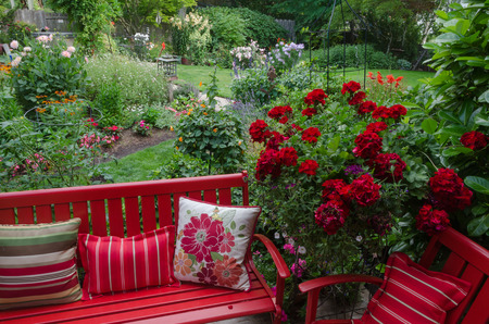 garden furniture: Overlooking a colorful backyard garden with casual red furniture and geraniums.in the foreground.