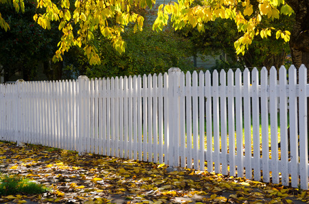 Dappled sun carresses a simple white picket fence running along a sidewalk strewn with gold and brown fall leaves. A symbol of the simplicity of living in a small town. 免版税图像