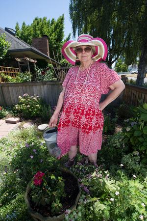 Humorous image of a gardening granny in her garden.