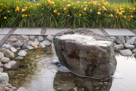 Detail of a custom stone fountain.