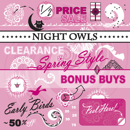 Great collection of vector art elements for your layout  Focusing on womens department store catalog  Theme includes sale icons, percent off, 10, 20, 25, 30, 50, 75, early bird, night owl, clearance  Vector