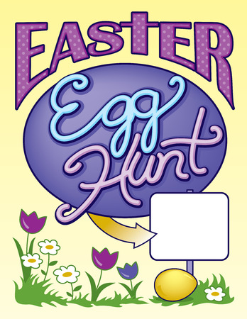 page layout: Easter Egg Hunt Sign Page Vector Layout Illustration