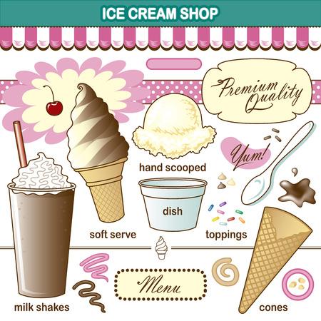 frutillas: Arte Vectorial Ice Cream Shop Set Toppings Shake Vectores