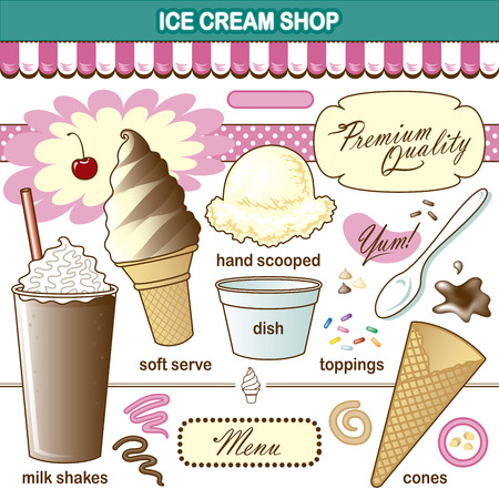 ice: Vector Art Ice Cream Shop Set Toppings Shake