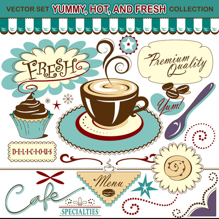 Vector Set  Coffee Shop, Yummy, Hot, and Fresh Collection - Lots of tasty elements for your layout or menu