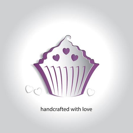 Art Paper Icon Design Cupcake Bakery Shop