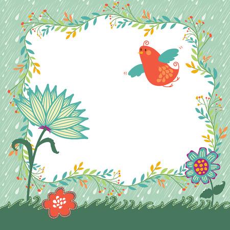 Spring Flower Bird Background