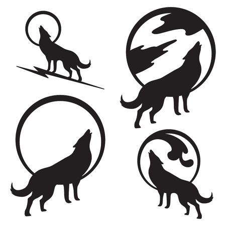 Wolf die bij volle maan