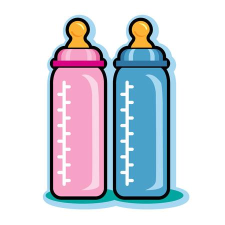 teteros: Ilustraci�n de botellas de beb� rosados ??y azules Vectores