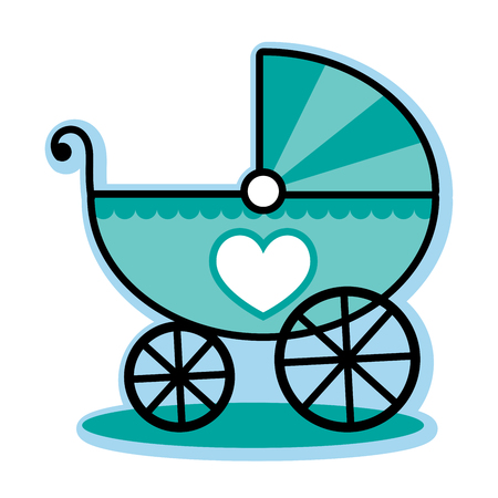 Blue baby boy carriage buggy
