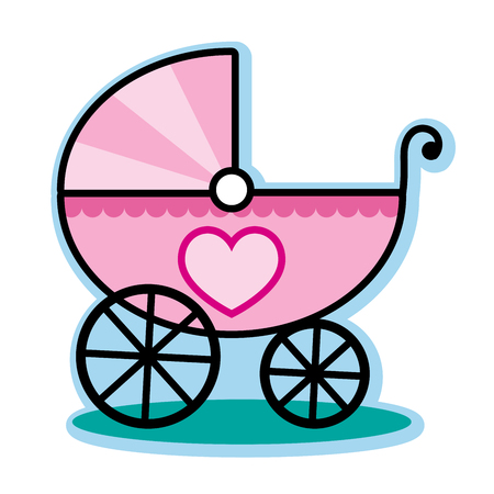 baby girl: Pink baby girl carriage buggy Illustration