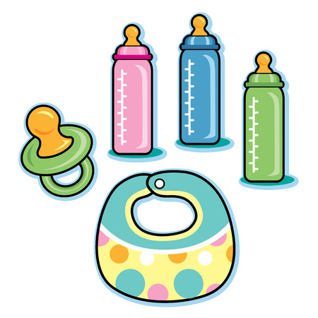 bib: Baby care items including bib pacifier bottles Illustration