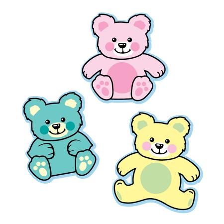 stuffed: Pastel colored stuffed baby teddy bears blue pink yellow