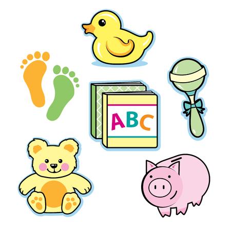 Baby toys rubber ducky rattle teddy bear piggy bank books
