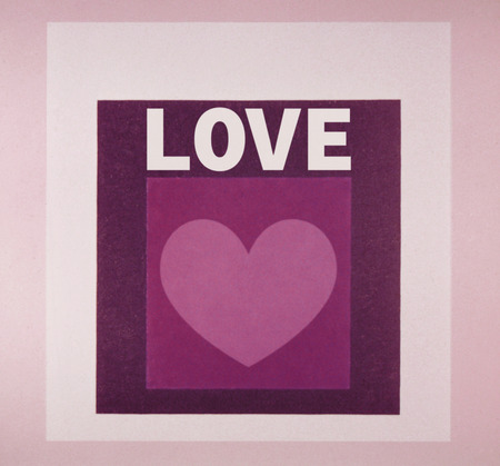 Word love with heart and purple squares
