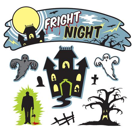 fright: Halloween fright night banner