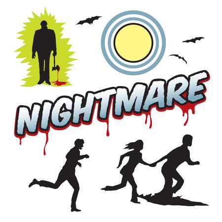 Nightmare word headline with people running and moon