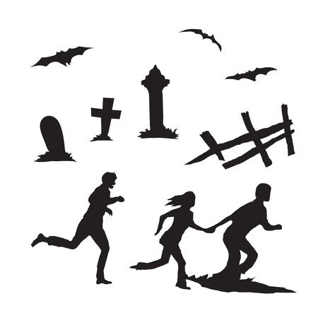People running and other Halloween elements