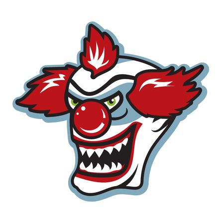 Scary killer clown with sharp teeth