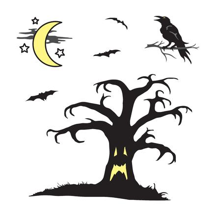 Halloween spooky tree with face scene Illusztráció