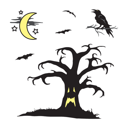 Halloween spooky tree with face scene Illustration