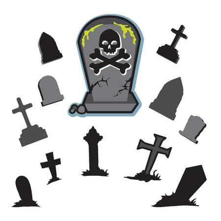 Cemetery stones tombstones graveyard Illustration