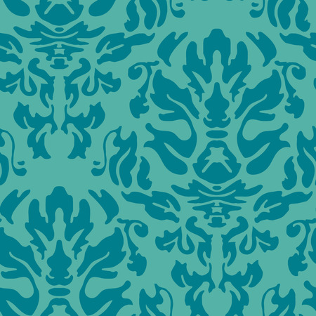 Repeat damask pattern in teal blue 向量圖像
