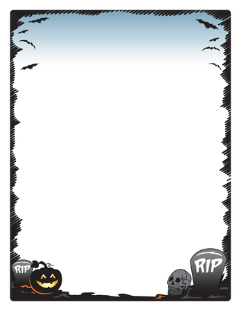 tombstones: Halloween frame border page with pumpkin skull and tombstones