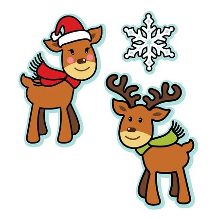 Cute Christmas reindeer boy and girl