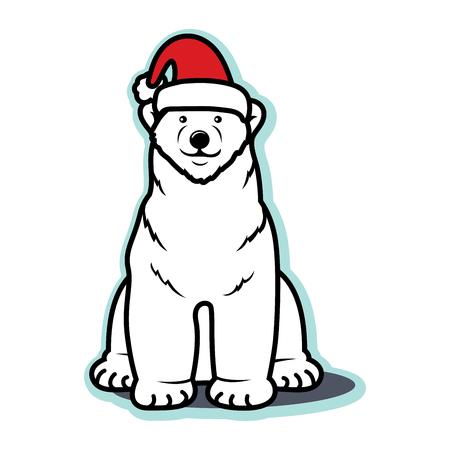 White Christmas polar bear with Santa hat Illustration
