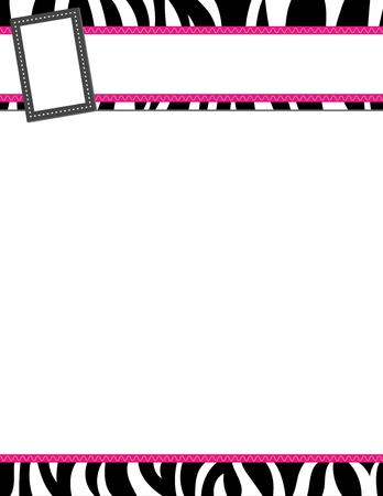 Zebra stripe black and pink frame Stock Photo