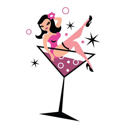 Mujer bonita en el vidrio de martini