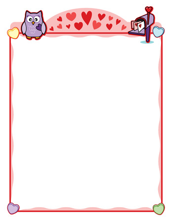 Valentine party frame with owl and love letter mailbox Illustration