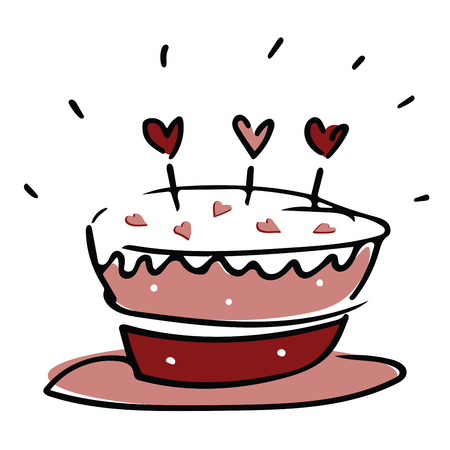 Valentine love cake with hearts in pink white and red Illustration