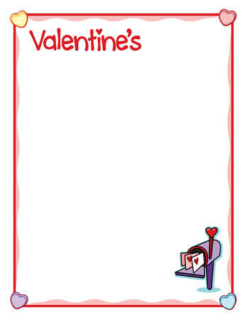 Valentine frame with love envelopes in mailbox Illustration