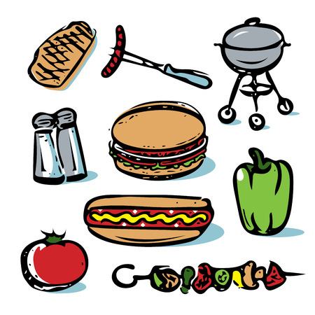 Picnic outdoor grilling food icon collection Иллюстрация
