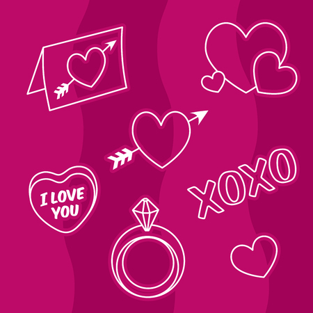 Valentine love icons, hearts, engagement ring, love letter