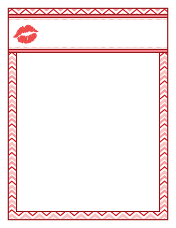 Valentine frame with kiss lips, red and bold