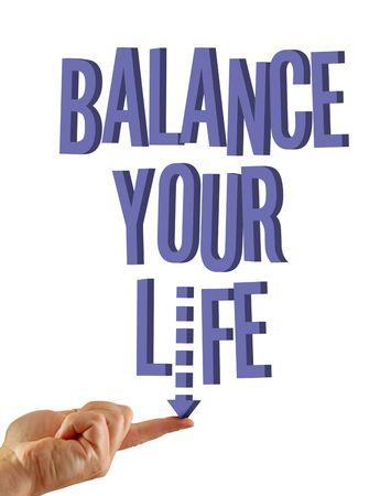 Balance your life written in 3D on an isolated white background, finger balances letter I in life. photo