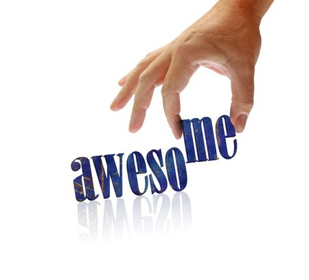 achievement concept: Awesome written on an isolated white background with reflection, hand holds letters ME. Stock Photo