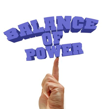 Balance of power written on an isolated white background, finger balances the text message. photo
