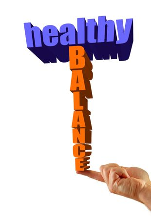 Healthy balance written in 3D on an isolated white background, finger balances text. photo